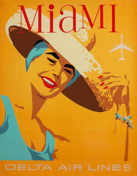 Delta Airlines Travel Poster Miami Florida Silkscreen
