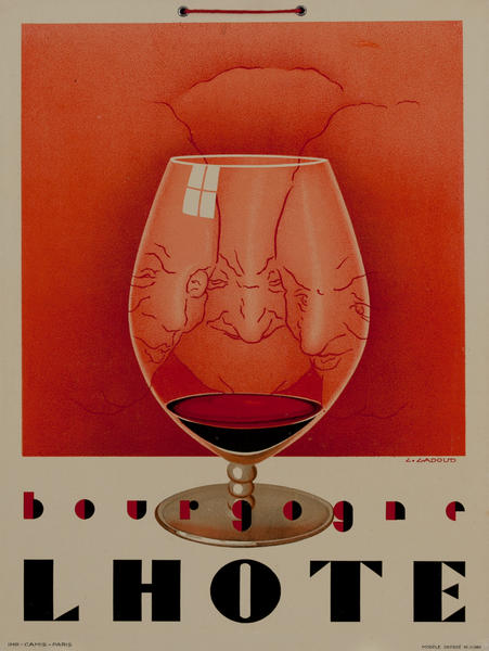 L Hote Bourgogne, French Wine Advertising Poster