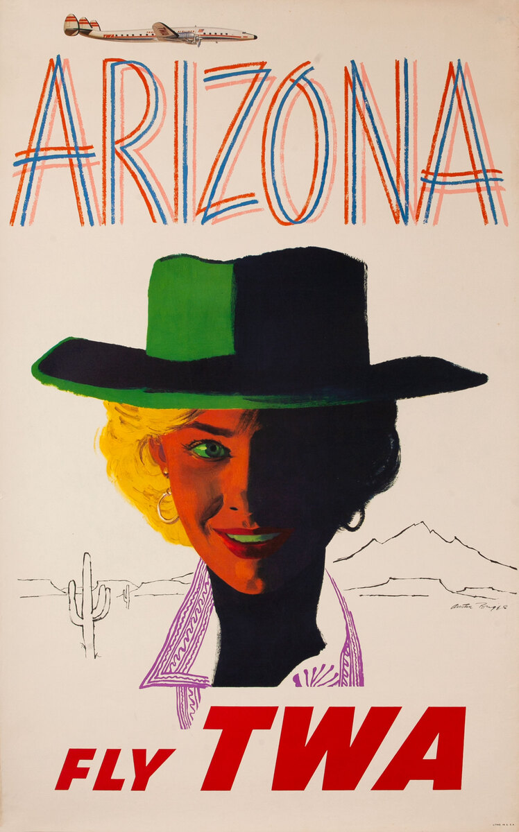 TWA Original Vintage Travel Poster Arizona, Constellation Aircraft