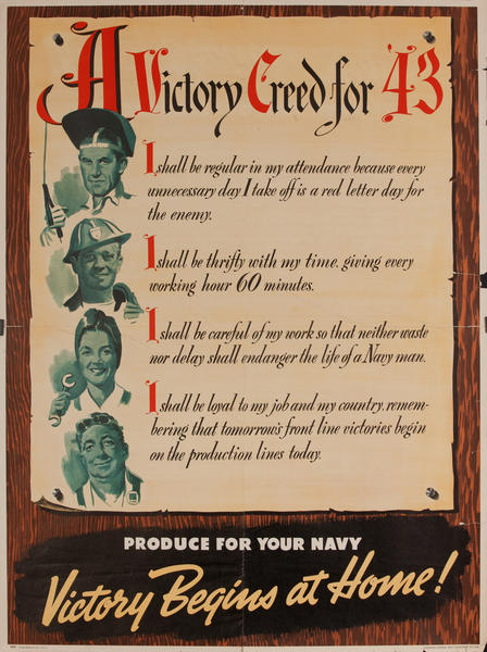 A Victory Creed for '43 WWII Production Poster