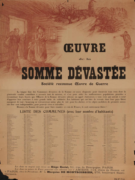 Ouvre de la Somme Devastee- French WWI Poster