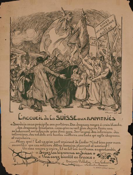 L'accueil de la Suisse aux Rapatries - French WWI Poster