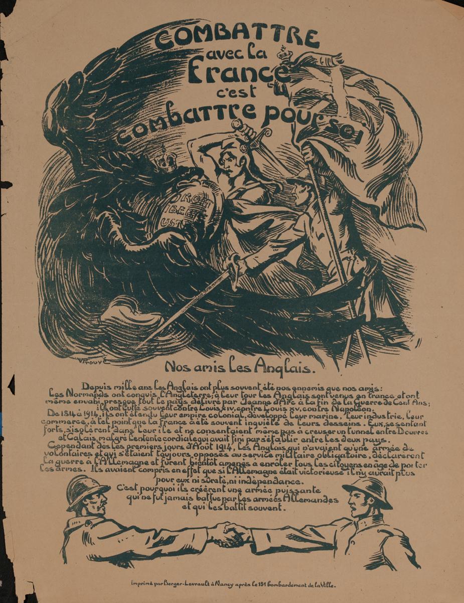 Combattre avec la France c'est combattre pour soi - French WWI Poster