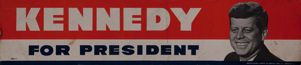 Original Kennedy For President Bumper Sticker