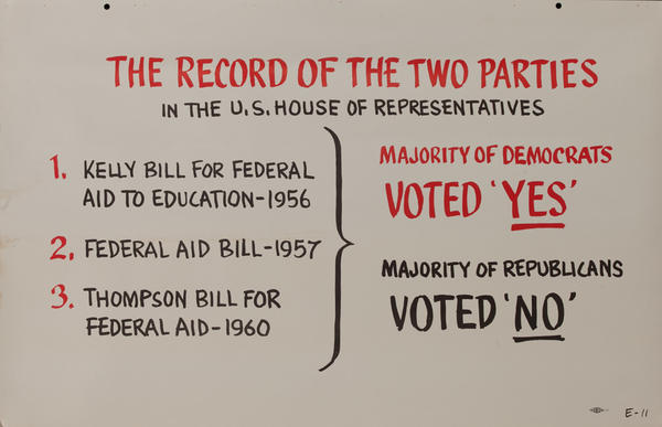 The Record of the Two Parties - John F Kennedy Presidential Campaign Chart