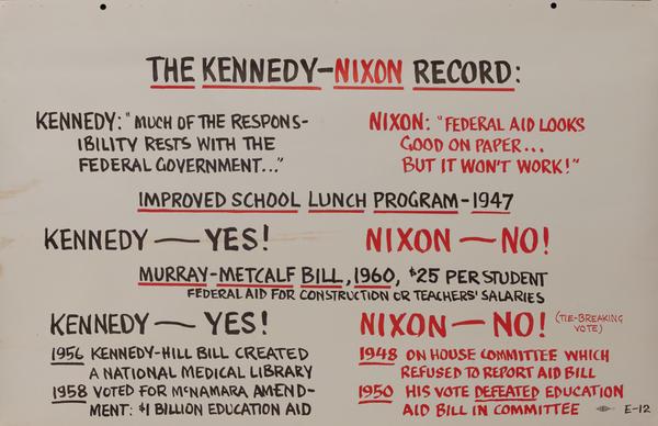 The Kennedy - Nixon Record John F Kennedy Presidential Campaign Chart