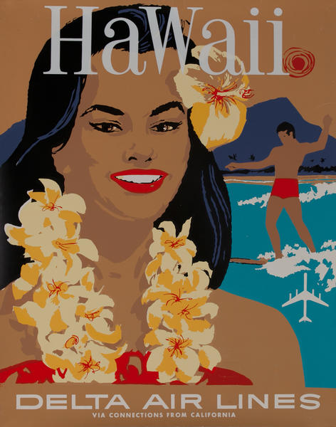 Hawaii, Delta Airlines Travel Poster
