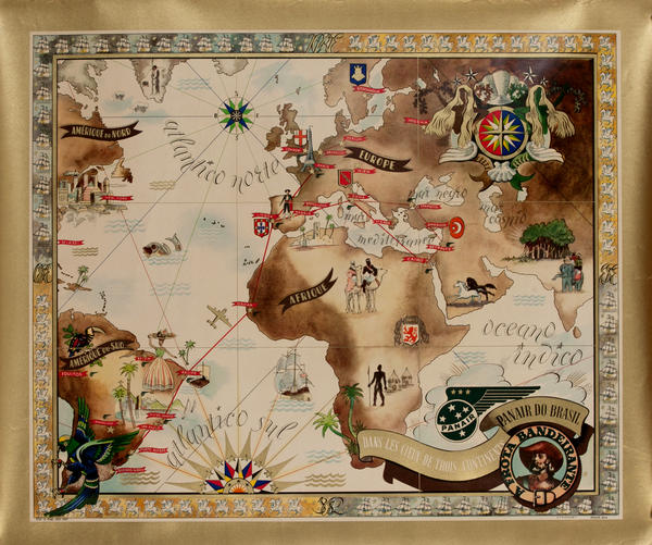 Panair do Brasil, dans les lieux de troix continents, Route map poster
