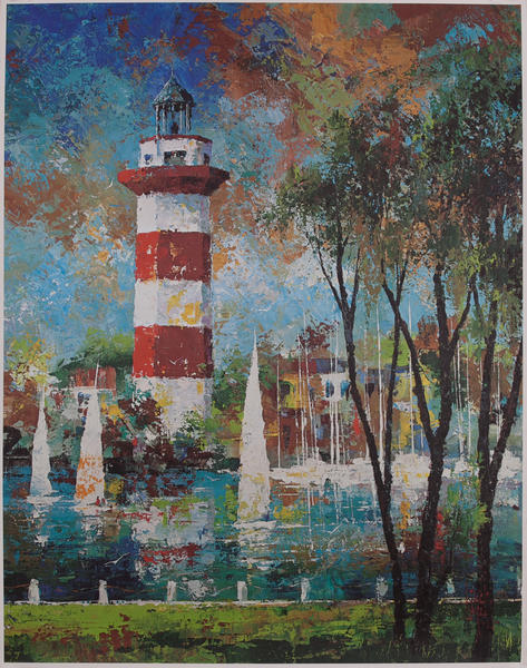 Delta Airlines Original Travel Poster, Hilton Head Lighthouse