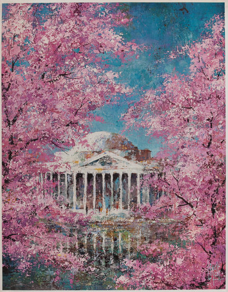 Delta Airlines Original Travel Poster, Washington DC Cherry Blossoms