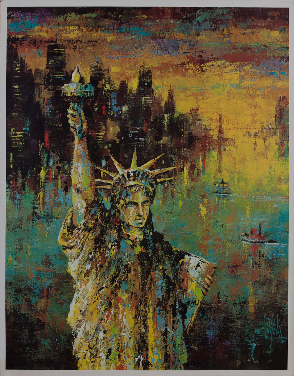 Delta Airlines Original Travel Poster, New York Statue of Liberty