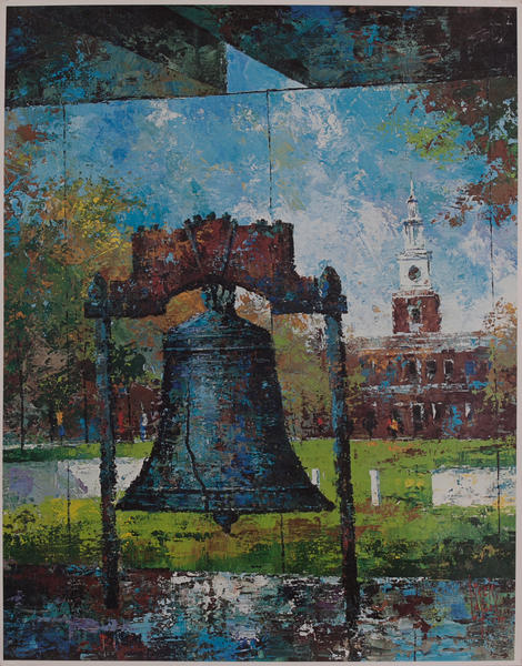 Delta Airlines Original Travel Poster, Liberty Bell, Philadelphia Pennsylvania
