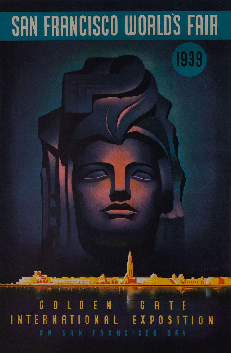 Golden Gate International Exposition on San Francisco Bay, 1939 San Francisco World's Fair Original Poster Pacifica Statue