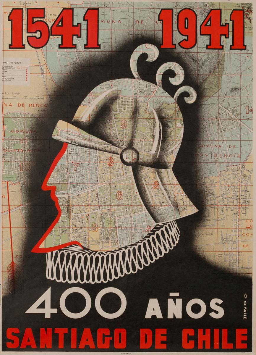 1541 -1941 400 Años Santiago de Chile Travel Poster