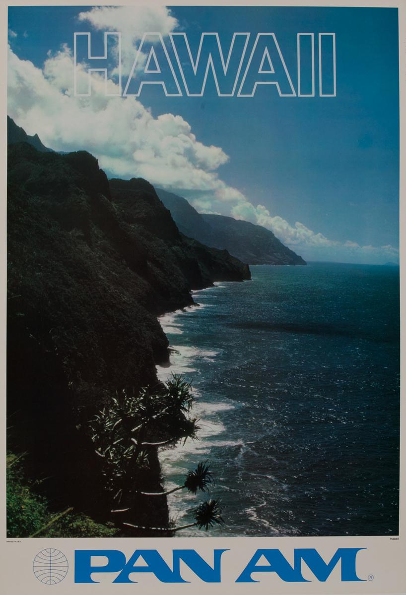 Hawaii Pan Am Travel Poster Coastline Photo