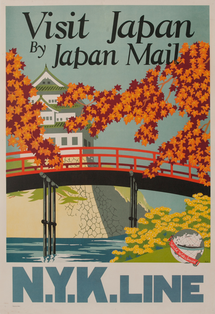 Visit Japan by Japan Mail N.Y.K. Line Travel Poster