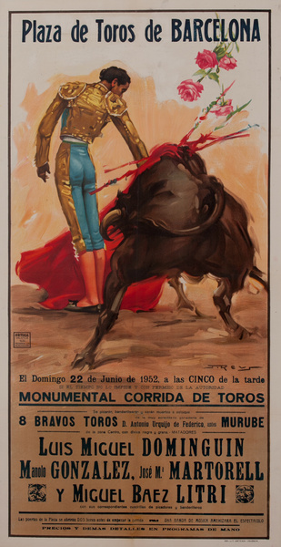 Plaza de Toros de Barcelona, Luis Miguel Dominguin, Bullfight Poster