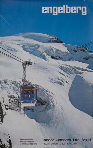 Engelberg Switzerland Ski Lift Travel Poster