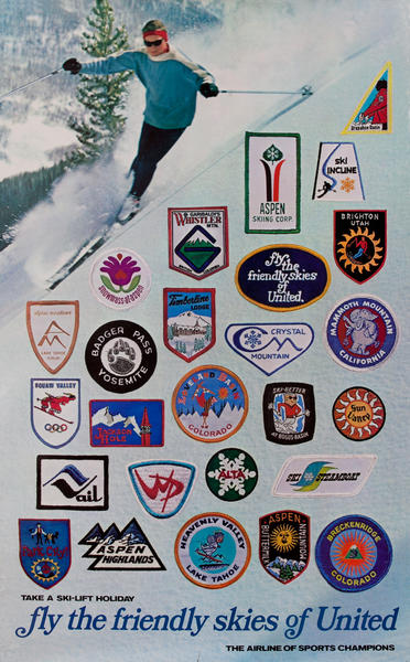 fly the friendly skies of United, Travel Poster ski patches