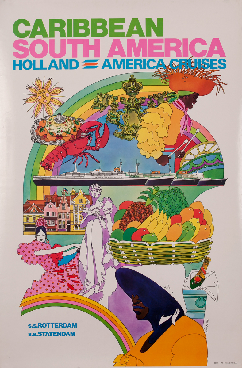 Caribbean South American Holland America Cruises Travel Poster