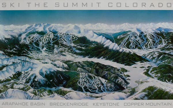 Ski The Summit Colorado, Ski Trail Map Poster