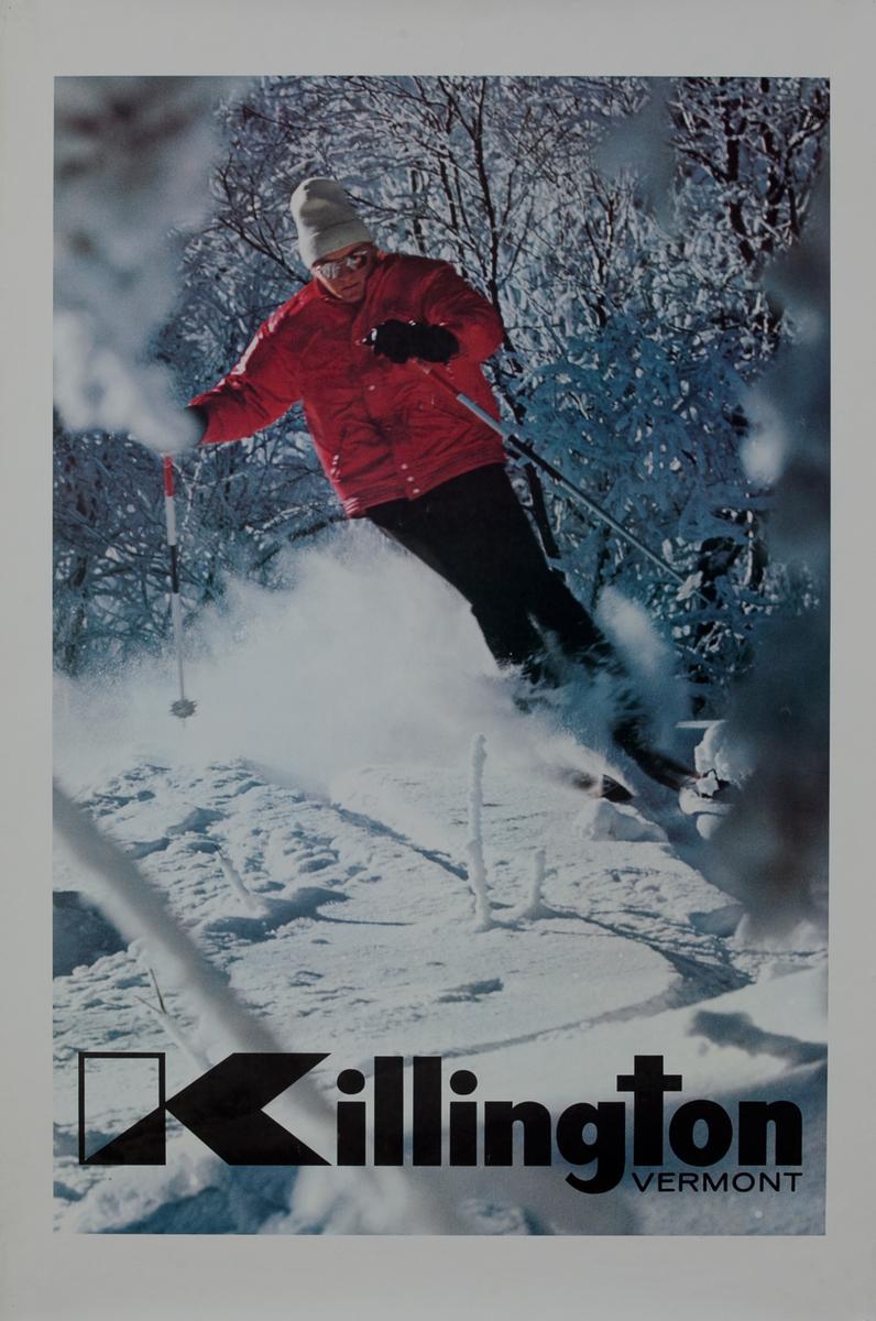 Killington Vermont Ski Poster, man in red jacket