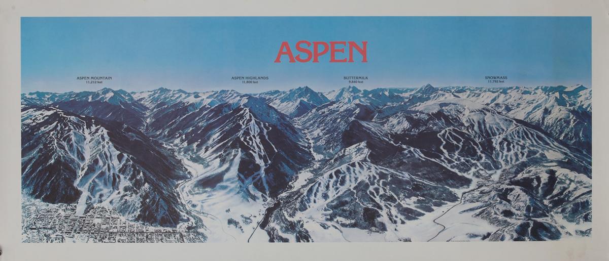 Aspen Colorado Ski Trails Map Poster