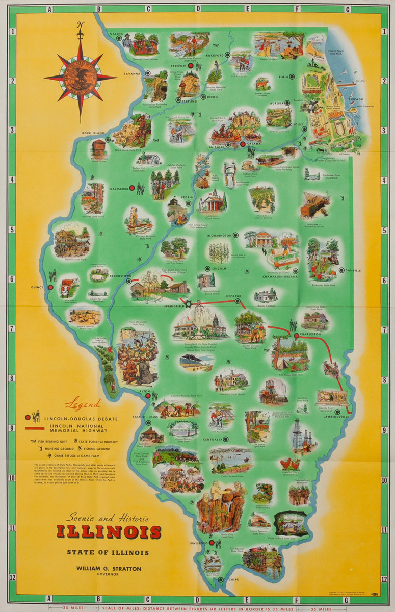 Scenic and Historic Map of Illinois