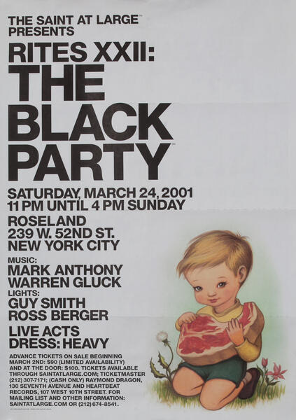 Rites XXII The Black Party The Saint at Large - Gay Nightclub Poster