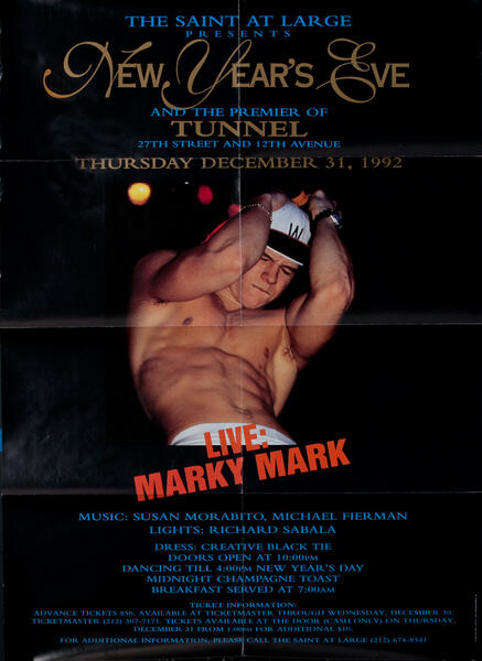 The Saint at Large -  New Years Eve Marky Mark - Gay Nightclub Poster