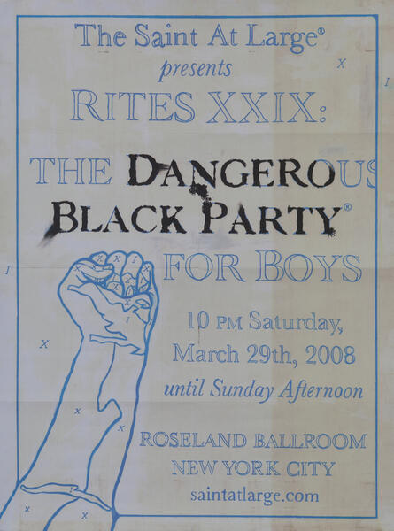 Rites XXIX The Black Party The Saint at Large - Gay Nightclub Poster
