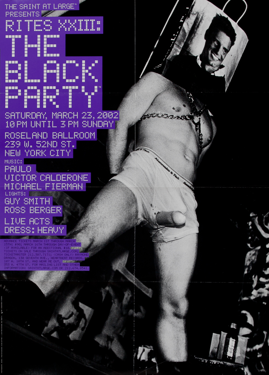 Rites XXIII The Black Party The Saint at Large - Gay Nightclub Poster