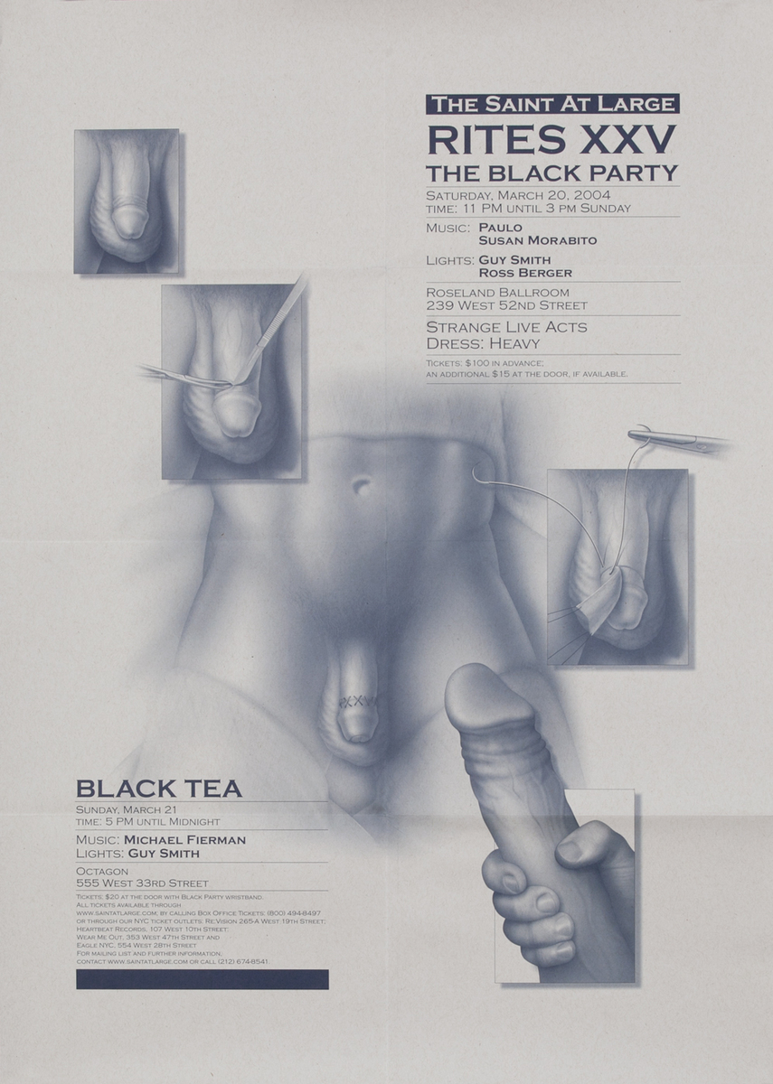 Rites XXVI The Black Party  The Saint at Large - Gay Nightclub Poster