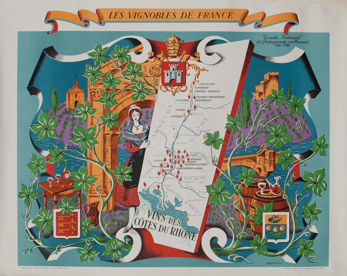 Vins des Cotes du Rhones - Les Vignobles de France Wine Region Poster