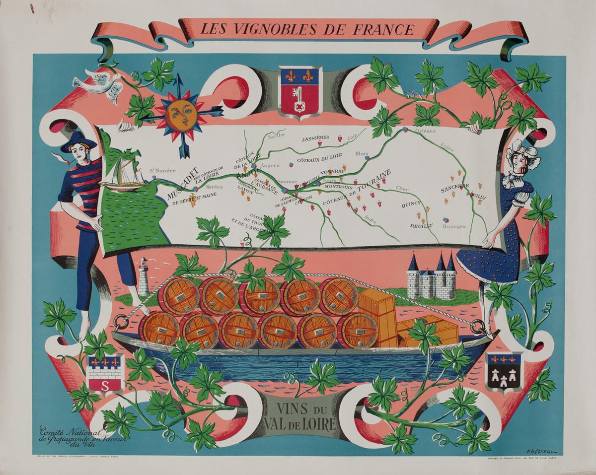 Vins du Val de Loire - Les Vignobles de France Wine Region Poster