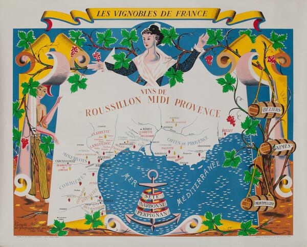 Vins de Roussillon Midi Provence - Les Vignobles de France Wine Region Poster