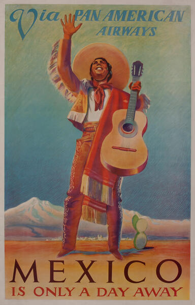 Via Pan American Airways - Mexico is only a day away. Travel Poster