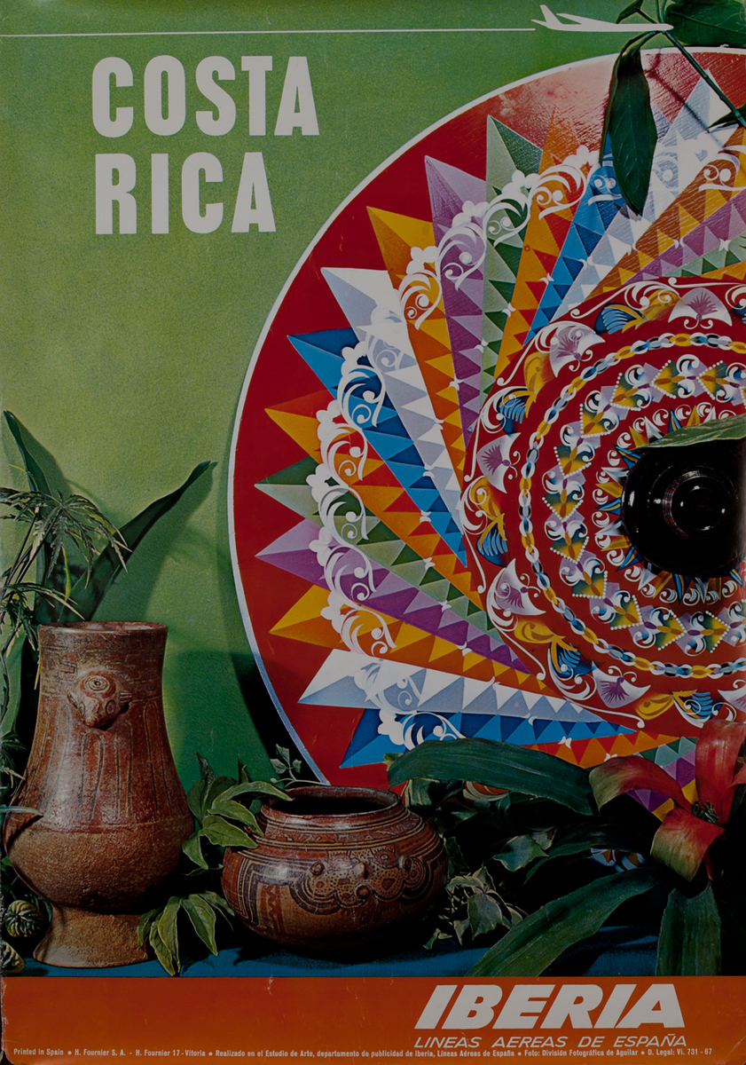 Fly to Costa Rica - Iberia Airlines Travel Poster