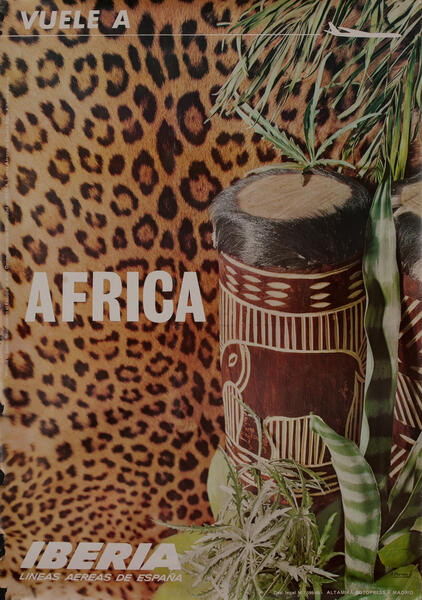 Fly to Africa - Iberia Airlines Travel Poster