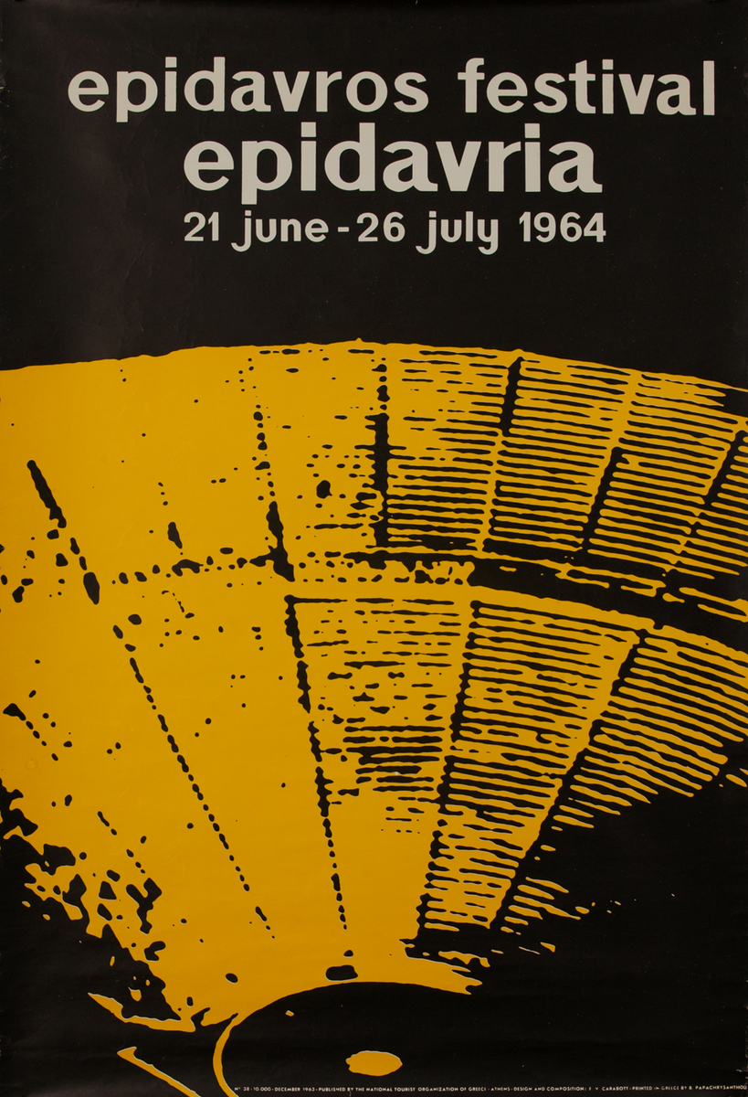 epidavros festival 1964 - Greek Travel Poster Epidaurus
