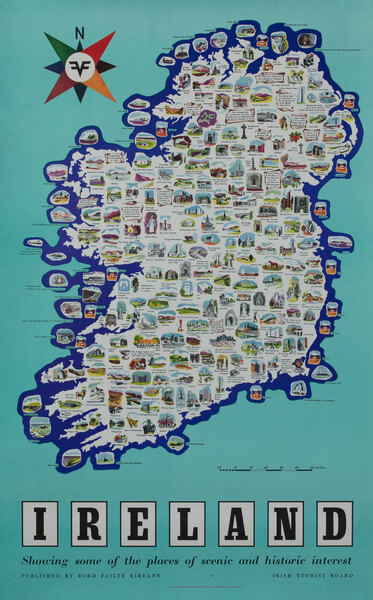 Ireland Travel Poster - Places of scenic and Historic Interest