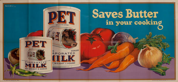 Pet Milk Saves Butter in your cooking - American Advertising Poster