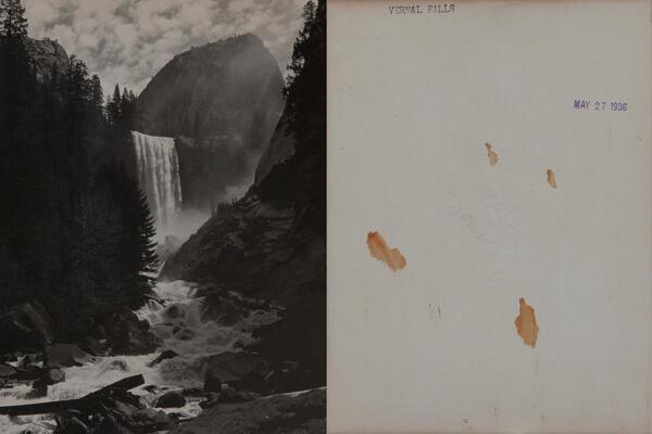 Original 1936 Ansel Adames Vernal Falls Yosemite Valley Photo