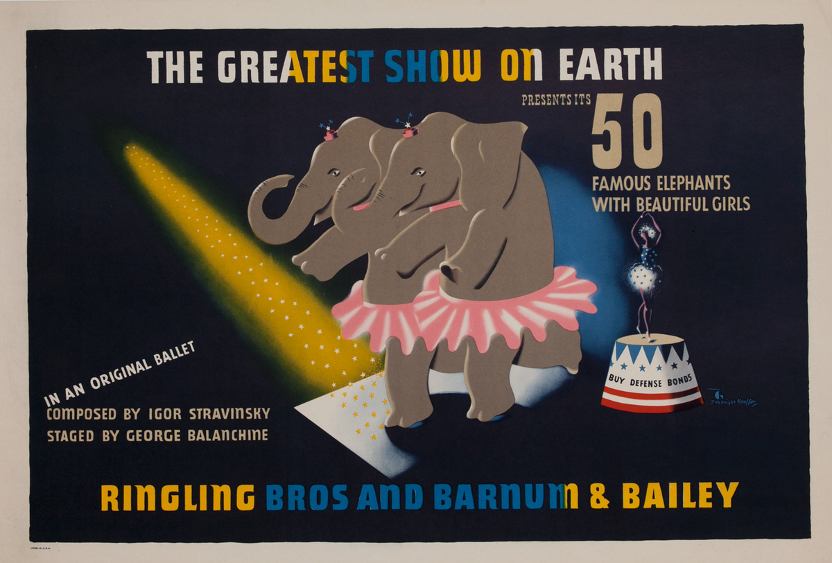 The Greatest Show on Earth, 50 Elephants WWII Circus Poster
