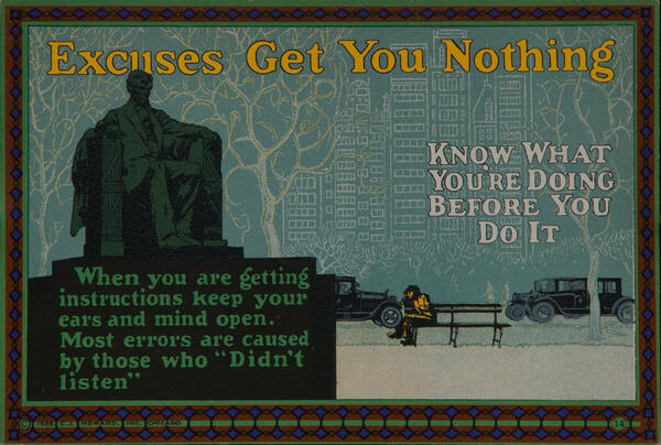 C J Howard Work Incentive Card #14 - Excuses get you nothing, Know what you're doing before you do it
