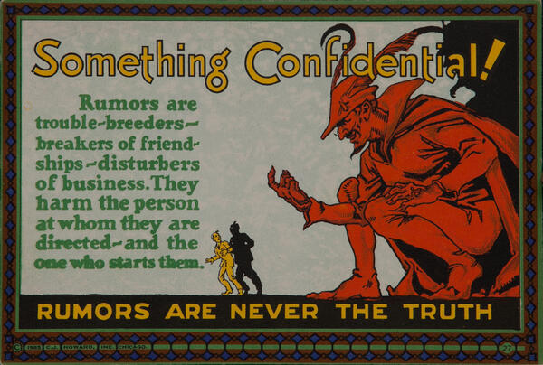 C J Howard Work Incentive Card #27 - Something Confidential! Rumors are never the truth