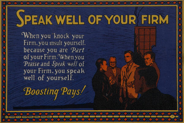 C J Howard Work Incentive Card #7, S,peak Well of Your Firm, Boosting Pays