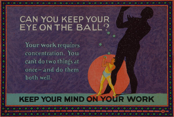 C J Howard Work Incentive Card #38 - Can You Keepo Your Eye on The Ball? Keep your mind on your work