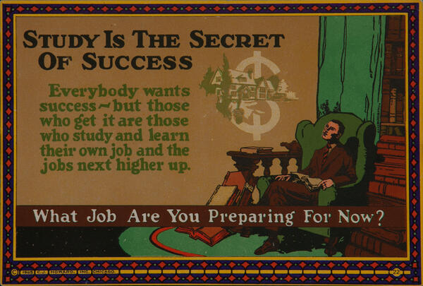 C J Howard Work Incentive Card #22 - Study is the Secret of Success, What job are you preparing for now?