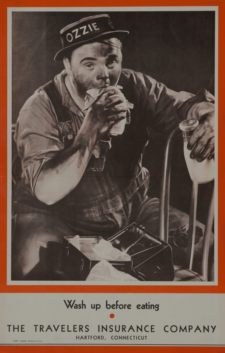 Wash Up Before Eating - Fatty Arbuckle Travelers Insurance Company Safety Poster